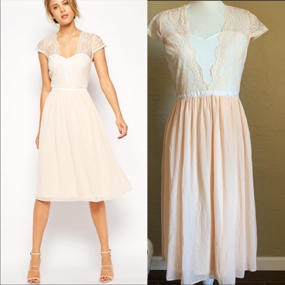 ASOS Tulle Midi Dress Peach Size 8